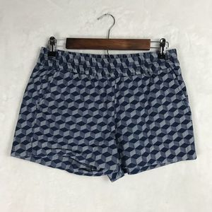 J. Crew Shorts Geometric Pattern Blue/White Cotton